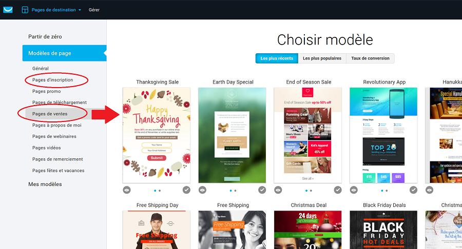 Créer une page de vente avec Getresponse